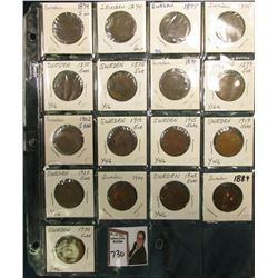 Collection of Sweden Five Ore: (2) 1874, (4) 1875, 1889, (2) 1899, 1902, 13, 15, 19, 20, 24, 25, & 1