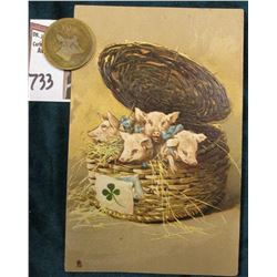"""Raphael Tuck & Sons ""Art"" Postcard No. 6858 ""Piglets in Basket"" & a fantastically Toned Brass Card"