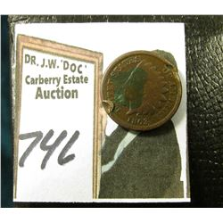 "1863 Civil War Indian Head Cent. Good. Damaged; & 1901 Check from Waterbury, Conn. On ""The Manufactu"