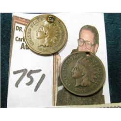 "(2) 1866 Indian Head Cents. Both holed; & 1873 ""Lanman & Kemp"" Check on the ""Merchants National Bank"