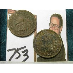 "1871 & 1873 Indian Head Cents. Both damaged; & 1901 Check ""The First National Bank Cooperstown, N.Y."