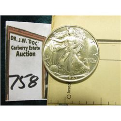 1943 P Walking Liberty Half Dollar, Brilliant Uncirculated & World War II Restricted Aerial Map issu