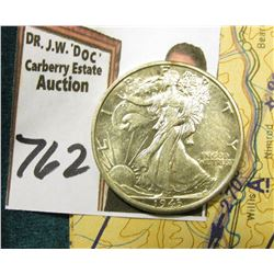 1943 D Walking Liberty Half Dollar, AU-BU & World War II Restricted Sectional Aeronautical Chart iss