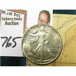 1944 P Walking Liberty Half Dollar, AU-BU & World War II Restricted Sectional Aeronautical Chart iss