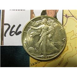 1943 P Walking Liberty Half Dollar, AU-BU & World War II Restricted Sectional Aeronautical Chart iss