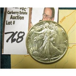 1943 P Walking Liberty Half Dollar, Brilliant Uncirculated & World War II Restricted Sectional Aeron