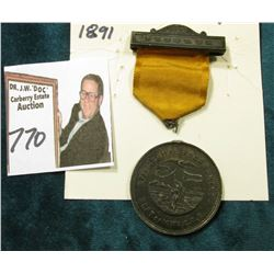 """1891 Dubuque 17th Annual Encampment Dept. of Iowa G.A.R."" Silver Medal with Ribbon . Medal has beca"