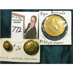 "(2) Different G.A.R. Uniform buttons & a token ""This/Coin/and/$5/For One/Introductory Flying Lesson"""