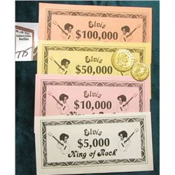 "Four-piece Set ""Elvis King of Rock"" Play Money, $5,000, $10,000, $50,000, & $100,000; 1788 Spade Hal"