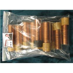 (5) 1957 & (5) 1958 Canada Maple Leaf Cent Rolls, BU in plastic tubes, I haven't opened the rolls, b