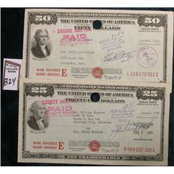 Pair of January 1945 United States of America Savings Bonds $25 & $50 War Savings Bonds Series E. Bo