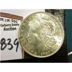 1921 P Morgan Silver Dollar. Brilliant Uncirculated. Small splotchy toning area on obverse.