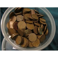 Small Berry Plastics Container full of 1940 era U.S. Wheat Cents. I never counted these so use your