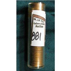 1951 D Original Gem BU Roll of Lincoln Cents in a plastic tube. CDN bid is $20 on my sheet.