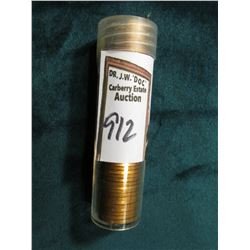 1947 S Original Gem BU Roll of Lincoln Cents in a plastic tube. CDN bid is $125 on my sheet. End coi