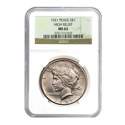 1921 $1 Peace Silver Dollar - NGC MS62