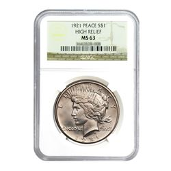 1921 $1 Peace Silver Dollar - NGC MS63