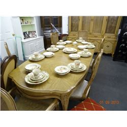 Scalloped Edge Dining Room Table & China Hutch + 6 Chairs, 2 Leafs & Pad