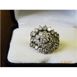 Diamond Wedding Cluster Ring Set - 3ct Melee Diamonds .5ct Center - Setting 14kt Yellow Gold