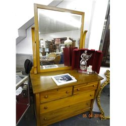 Early Wood 2 Over 2 Dresser w/Mirror