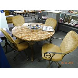 Granite Top Round Table w/4 Chairs