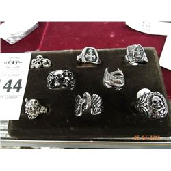 8 S/S Skull/Insignia Rings -8 Times the Money
