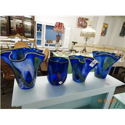 4 Art Glass Vases - 4 Times the Money