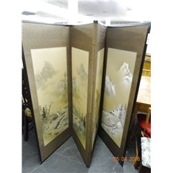 Japanese Hand Painted 4 Panel Screen