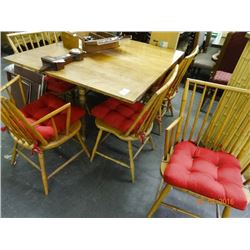Maple Gateleg Table w/6 Spindle Back Chairs & Leaf
