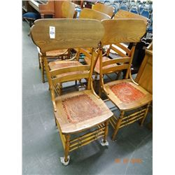 6 Oak Ladderback Chairs w/Leather Unset - 6 Times the Money