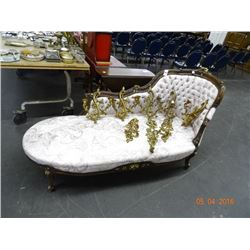 Wood Trim, Button Tufted Chaise