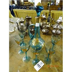 Blue Decanter & Stems - No Shipping