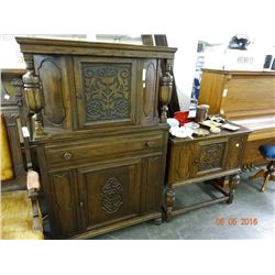 Ornately Carved Oak Hutch & Side Bar