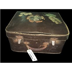 Vintage Brown Leather Ladies Travel Case with NZ Stickers