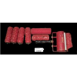 * Vintage French Roulfix Patterned Paint Roller Set