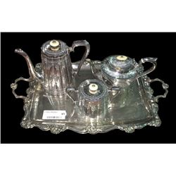 * Victorian Bone Handled Tea & Coffee Set on Tray