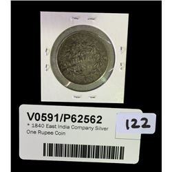 * 1840 East India Company Silver One Rupee Coin