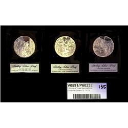 * Group of Three Sterling Silver Christmas Dollars 72, 74,75