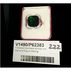 * Emerald (Synthetic) & Ruby with Diamond Ring on Sterling