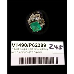 * 14ct Gold & 12ct Emerald Ring with Diamonds (12 Grams)