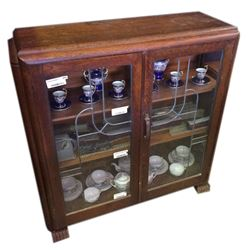 * Art Deco Solid Oak Leadlight China Cabinet with Key