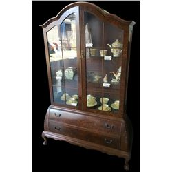 * Antique Burr Walnut Two Door Display Cabinet