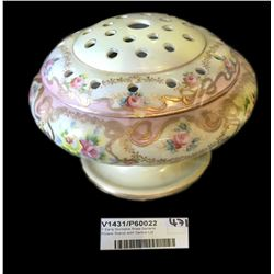 * Early Noritake Rose Garland Flower Stand with Centre Lid