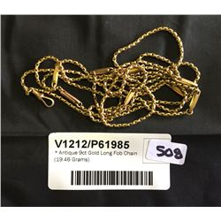* Antique 9ct Gold Long Fob Chain (19.46 Grams)