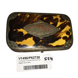* Antique Tortoise Shell & Silver Edged Card Case