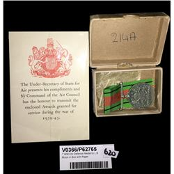 * WWII Air Defence Medal to L.B. Moon in Box with Paper