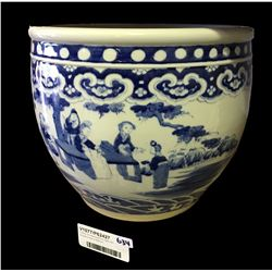* Early Chinese Blue Pot Vase with Double Circle on Bottom