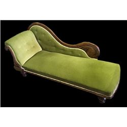 * 1860's Mahogany Framed Chaise Lounge w. Scroll Decoration