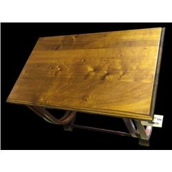 * Art Deco Beech Side Table with Double Looped Supports
