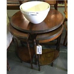 * Vintage Round Nest of Tawa Tables